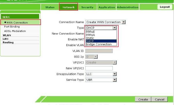 Настройка подключения по DHCP модема ZTE ZXV10 H108L